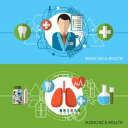 Medicine And Health Banners Set - stock illustration