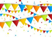 Celebration background with confetti and colorful flags. - stock illustration