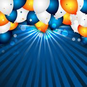 Celebration vector background with colorful balloons and confetti. Stock Illustration