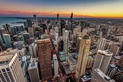 USA, Illinois, Chicago, Elevated view of downtown skyscrapers - stock photo