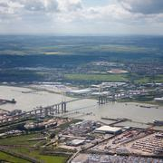 United Kingdom, England, London, River Thames, Aerial view of Dartford Crossing - stock photo