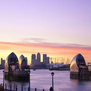 United Kingdom, England, London, Canary Warf, River Thames, Piers of Thames - stock photo