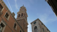 San Bartolomeo Church tower in Venice Stock Footage