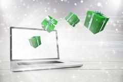 Composite image of green presents - stock illustration