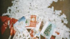 Christmas Cards Beneath White Xmas Tree-1957 Vintage 8mm film Stock Footage