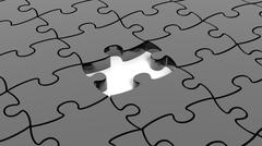 Abstract background with black puzzle pieces one piece missing. Stock Illustration