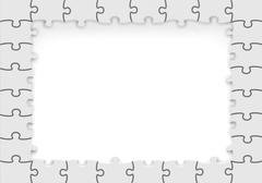 Frame made of white puzzle pieces with copy-space. Stock Illustration