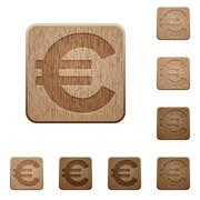 Euro sign wooden buttons - stock illustration