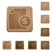 Money report wooden buttons - stock illustration
