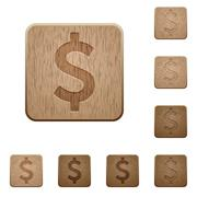 Dollar sign wooden buttons - stock illustration
