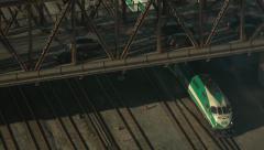 Go Train Under Bathurst St. Bridge in Toronto. Stock Footage