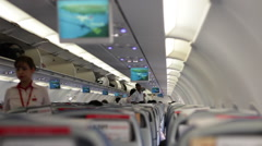 Passengers in a Cabin Airplane during Boarding. Stock Footage