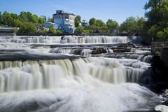 Canada, Ontario, Ottawa, Almonte Great Falls with building in background - stock photo