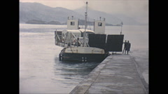 Stock Video Footage of Vintage 16mm film, 1965, Scotland, car ferry swing out, unique pivot swing