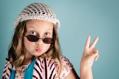 Girl dressed as hippie Stock Photos