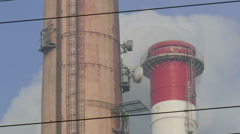 Smoking chimneys of a coal power plant. Close up Stock Footage