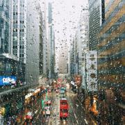 China, Hong Kong, Raindrops on window Stock Photos