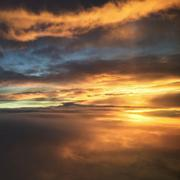 Orange moody sky - stock photo