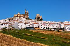 Spain, Andalusia, Pueblos Blancos, View of white town and fields in foreground - stock photo