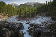 Canada, Alberta, Sunwapta Falls, Symmetrical view of landscape with waterfall, - stock photo