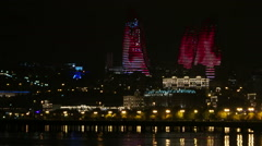 Flame Towers in Baku, Azerbaijan. Stock Footage