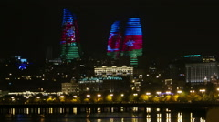 Flame Towers with color of national flag in Baku, Azerbaijan. - stock footage