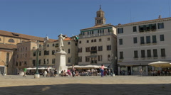 View of Statue of Nicolo Tommaseo and the old buildings of Venice Stock Footage