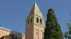 Close up view of Chiesa San Vidal's tower in Venice Stock Footage