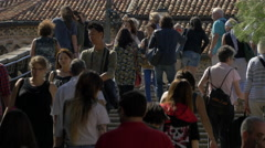 Tourists walking on stairs on Ponte dell'Academia in Venice Stock Footage