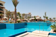 Swimming pools at the luxury hotel, Saadiyat island, Abu Dhabi, UAE - stock photo