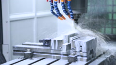 Metal processing on CNC with a hydraulic system - stock footage