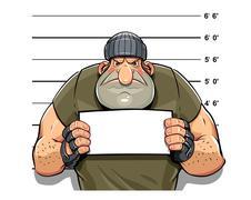 Angry criminal man - stock illustration