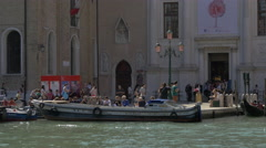 Boats floating in front of Gallerie dell'Accademia in Grand Canal, Venice Stock Footage