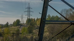 Metal pylons in the nature, metal structure Stock Footage