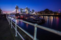 United Kingdom, England, London, View of Tower Bridge at sunset - stock photo