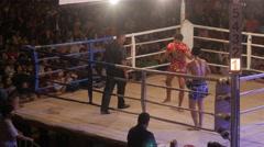 Thai boxing,Ubon Ratchathani,Thailand Stock Footage