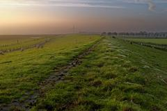 Stock Photo of Germany, Ostfriesland, Embden, Petkum, View along dike of river Ems with grazing