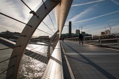 United Kingdom, England, London, View along Millennium Bridge Stock Photos