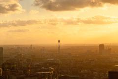 United Kingdom, England, London, Cityscape with British Telecom Tower at sunset Kuvituskuvat