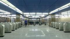 modern subway station vistavochnaya timelapse, hyperlapse. Moscow, Russia - stock footage