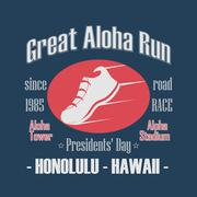 Sport Typography, Great Aloha Run. Presidents' Day Road Race - stock illustration
