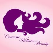 Beauty girl with curly hair logo Stock Illustration