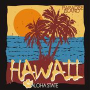 Hawaii tropical beach t-shirt - stock illustration