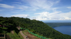 Overview of lake Apoyo in Catarina village Stock Footage