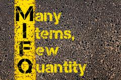 Business Acronym MIFQ as Many Items, Few Quantity - stock photo
