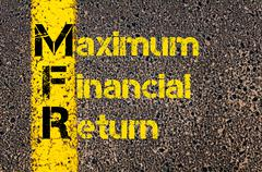 Business Acronym MFR as Maximum Financial Return - stock photo