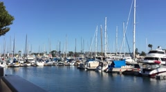 Marina del Rey Yacht Basin  with boats berthed Stock Footage