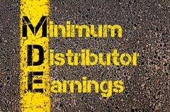 Business Acronym MDE as Minimum Distributor Earnings - stock photo