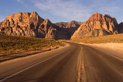 Two Lane Highway Leads to Red Rock Canyon Las Vegas USA Stock Photos