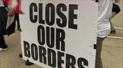 Close Our Borders sign Stock Footage